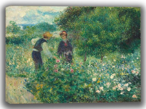 Renoir, Pierre Auguste: Picking Flowers. Fine Art Canvas. Sizes: A4/A3/A2/A1 (003963)
